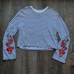 Striped Long Sleeve Crop Top Rose Embroidered